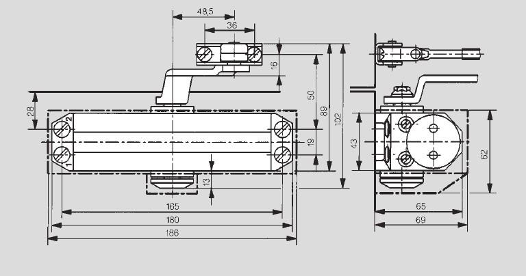 Габаритные размеры. Доводчик дверной DORMA TS-77.