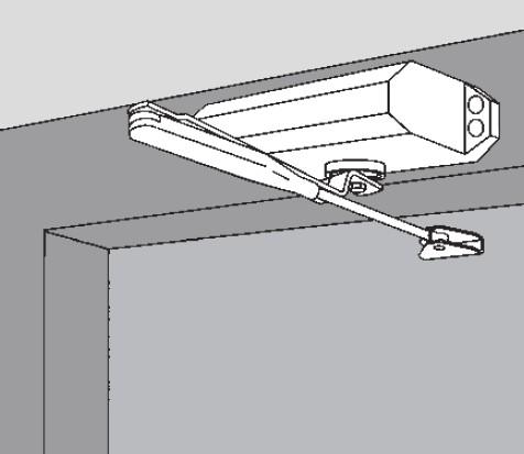 Установка на стороне противоположной петлям на дверной коробке. Доводчик дверной DORMA TS-77