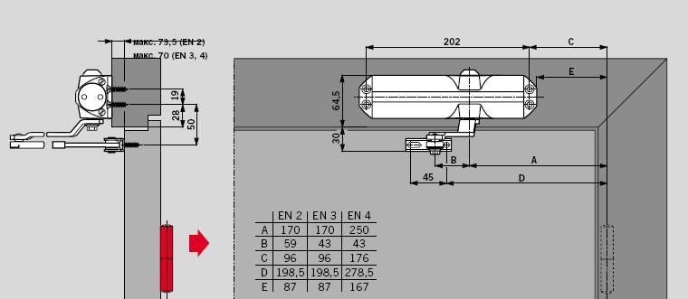типовая схема установки дверного доводчика.